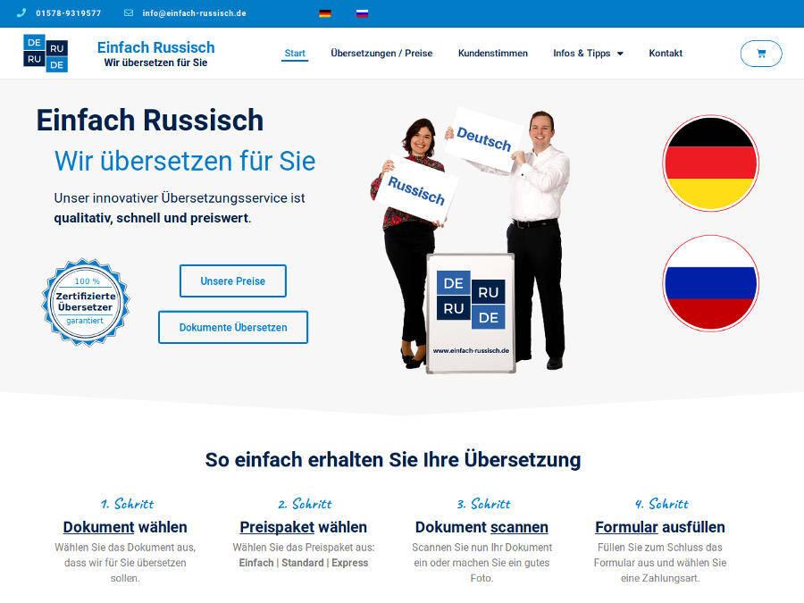 Einfach Russisch Übersetzungen Webseite